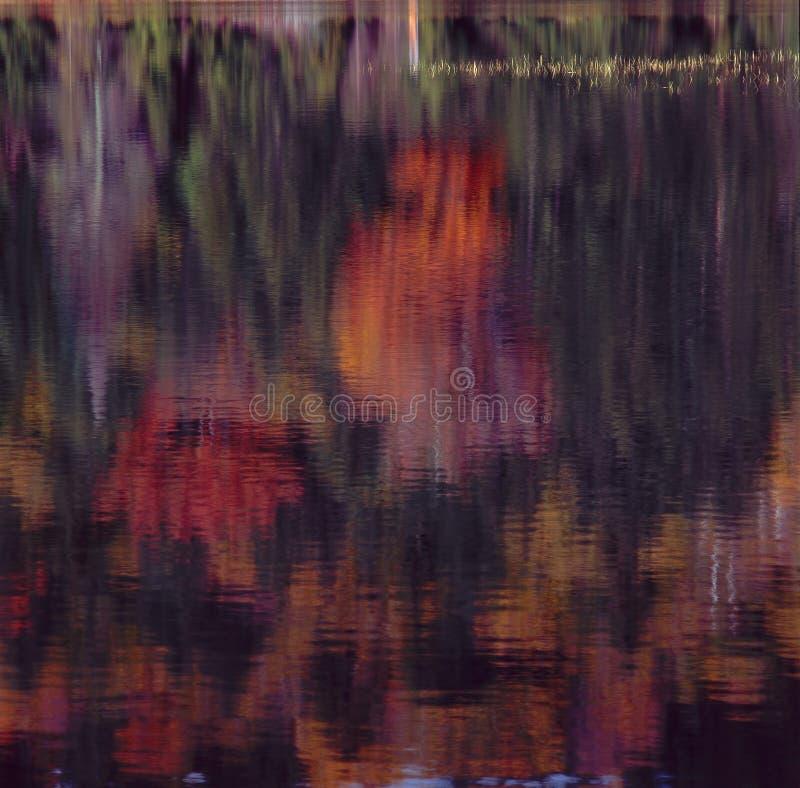 反射在秋天池塘,岩石峡谷,白色山国家森林,新罕布什尔 库存照片