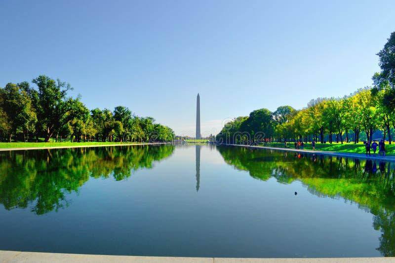 反射在水池的华盛顿纪念碑 免版税库存照片