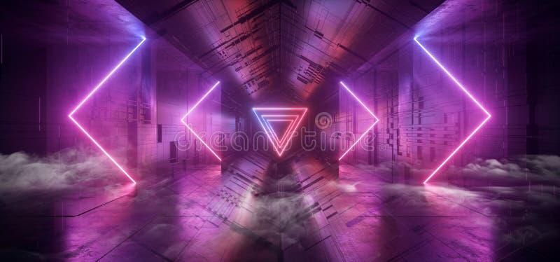 反射性烟箭头霓虹发光的激光蓝色紫色三角科学幻想小说未来派技术概要主板矩阵的芯片 皇族释放例证
