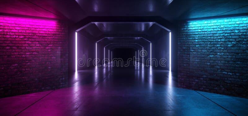 反射性霓虹发光的减速火箭的砖墙紫色蓝色阶段夜总会充满活力的走廊隧道激光展示黑暗的空的背景 库存例证