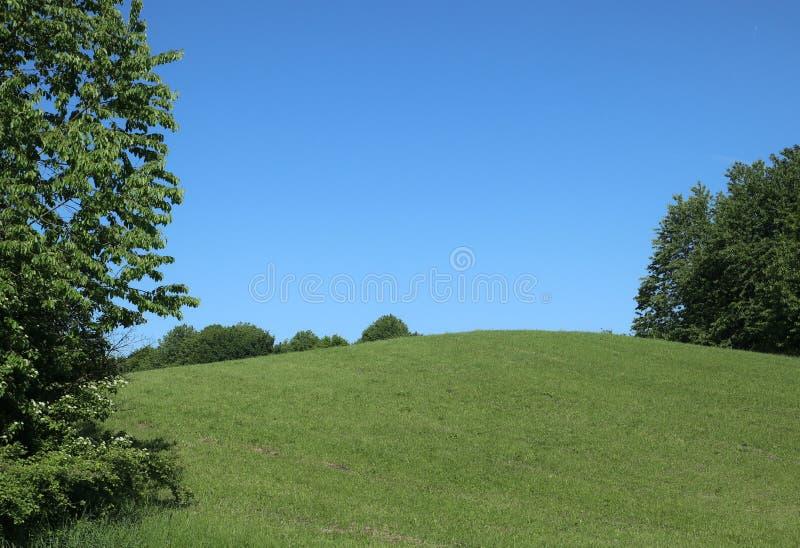 反弹在巴伐利亚青山和蓝天 免版税库存图片