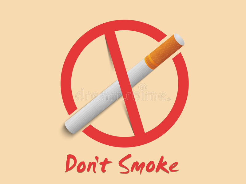 反抽烟标志或标志为禁烟天 库存例证