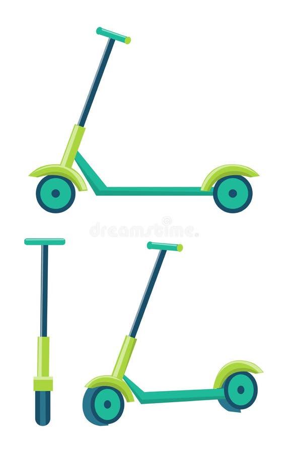 反撞力滑行车不同的角度被设置推挤滑行车 库存例证