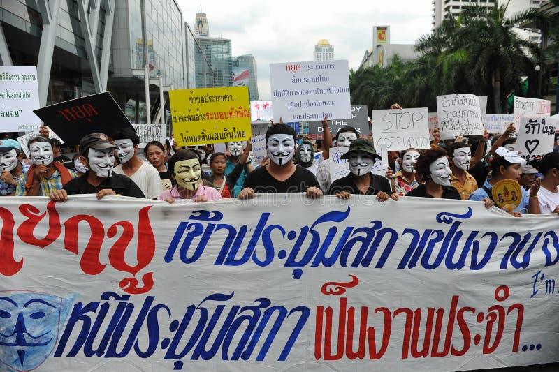 反政府'白色面具'抗议在曼谷 免版税库存照片