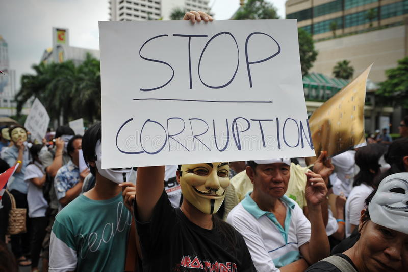 反政府'白色面具'抗议在曼谷 免版税库存图片