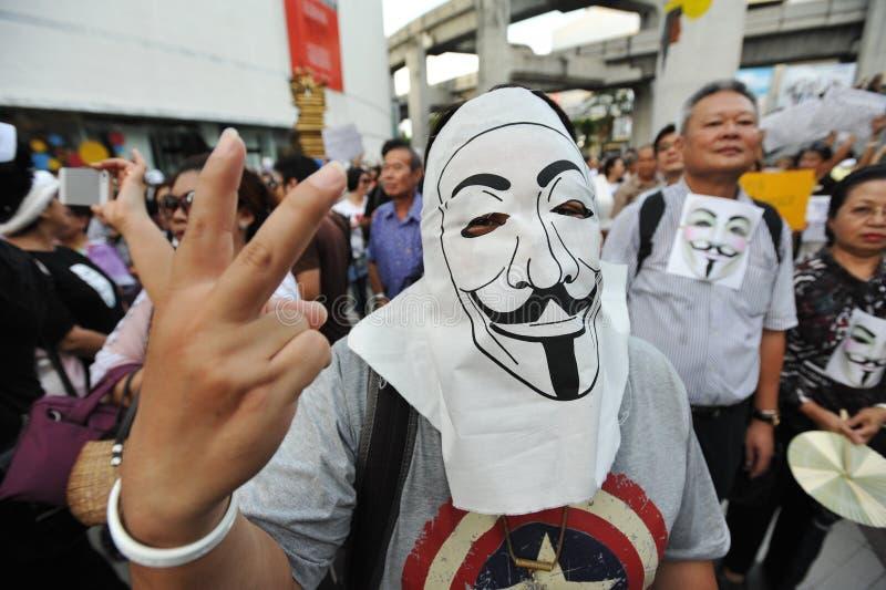 反政府'白色面具'抗议在曼谷 免版税图库摄影