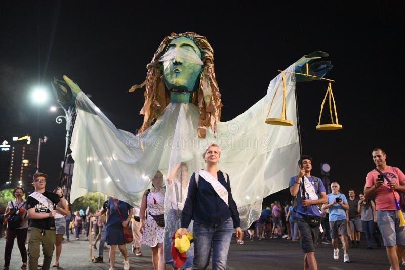 反政府抗议在布加勒斯特- 2018年8月12日 免版税库存照片