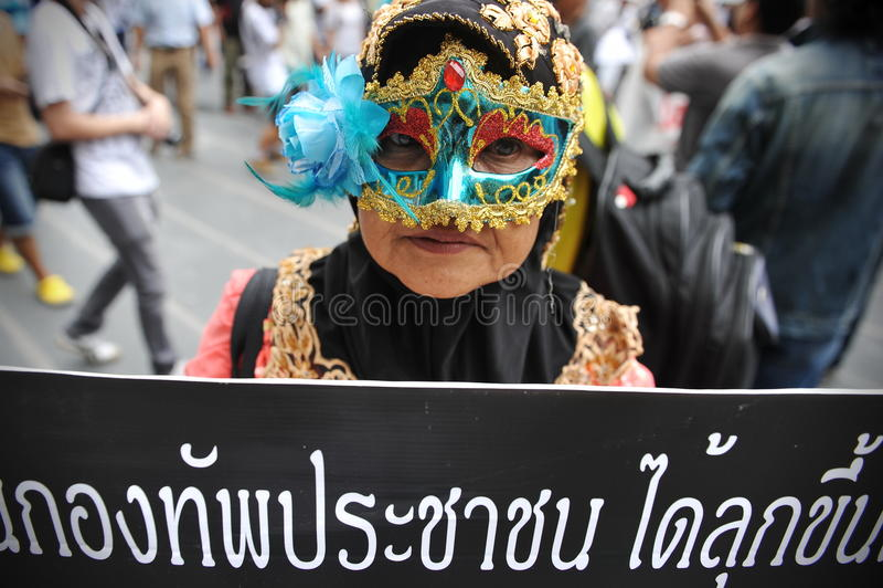 反政府抗议在曼谷 免版税库存图片