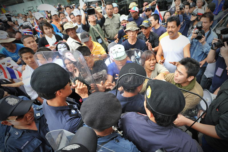 反政府抗议在曼谷 库存图片