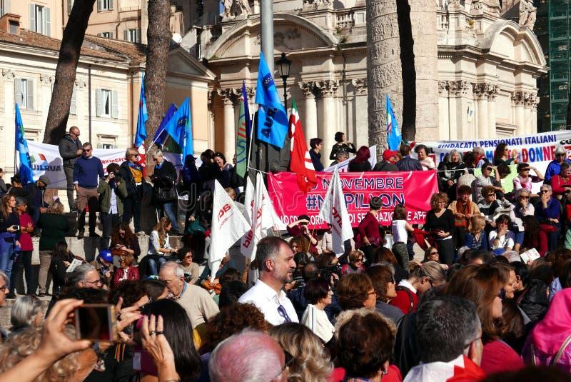 反政府抗议在罗马 免版税库存照片