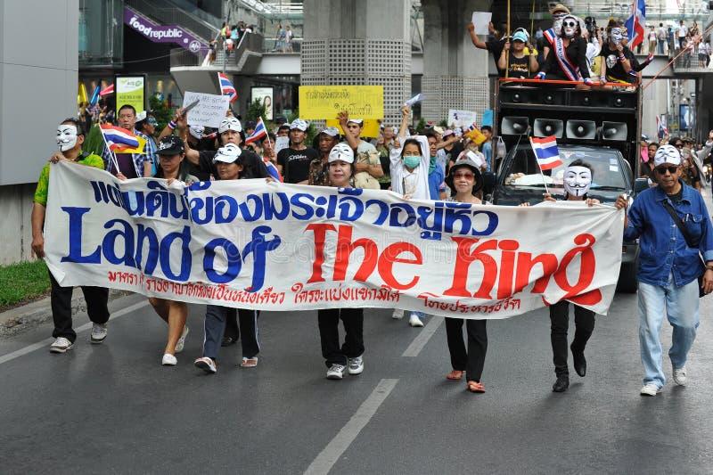 反政府白色面具抗议在曼谷 图库摄影