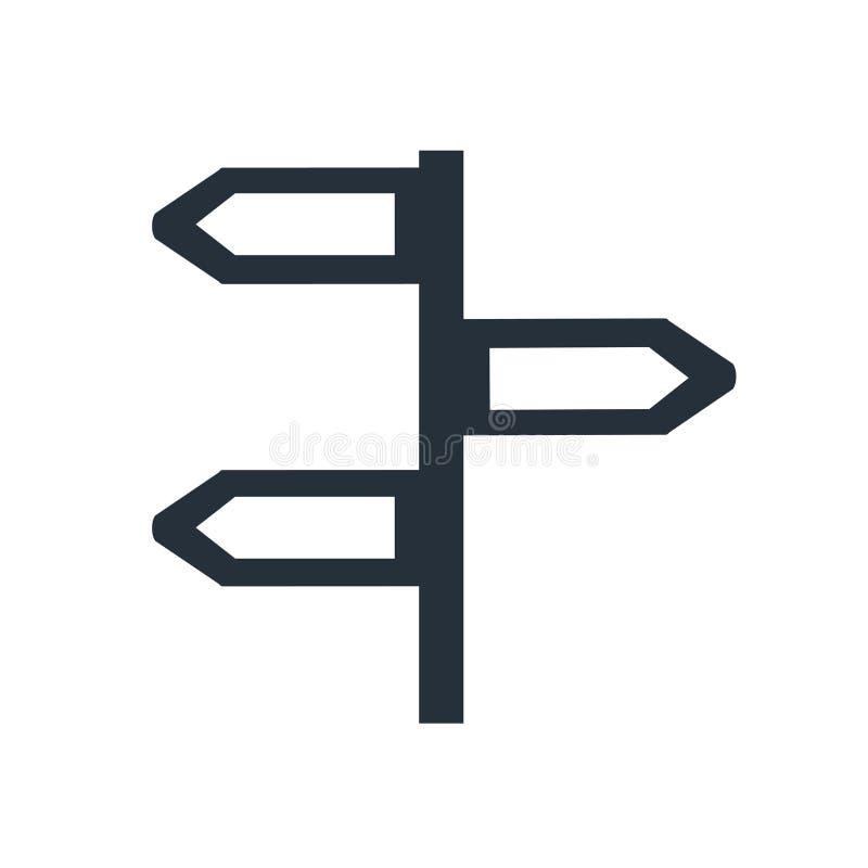 反方向象在白色背景和标志隔绝的传染媒介标志,反方向商标概念 皇族释放例证