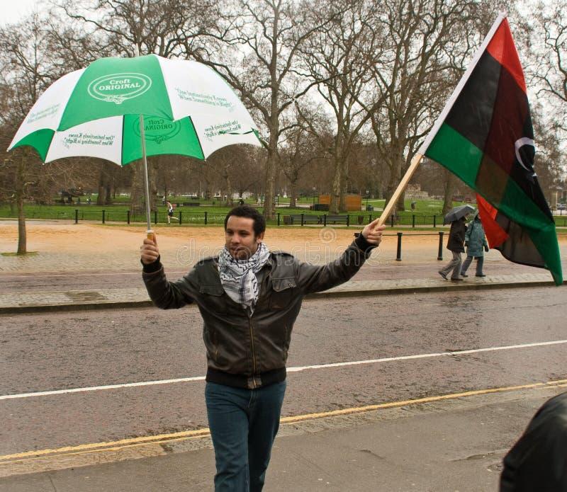 反示威者gaddafi伦敦 免版税库存照片