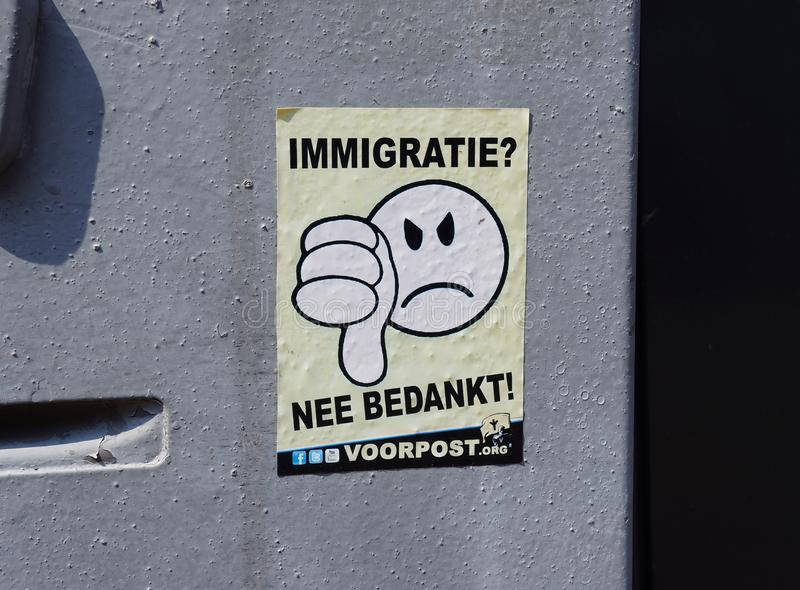 反移民贴纸在荷兰,欧洲 免版税库存照片