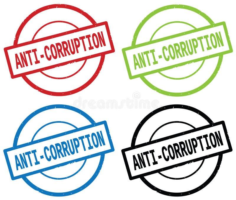 反腐败文本,在圆的简单的邮票标志 向量例证