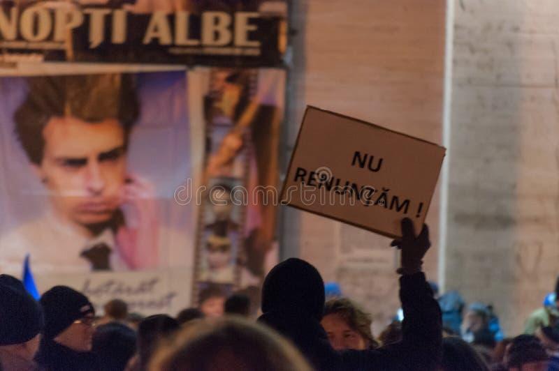 反腐败集会 罗马尼亚抗议者是反对c 库存图片