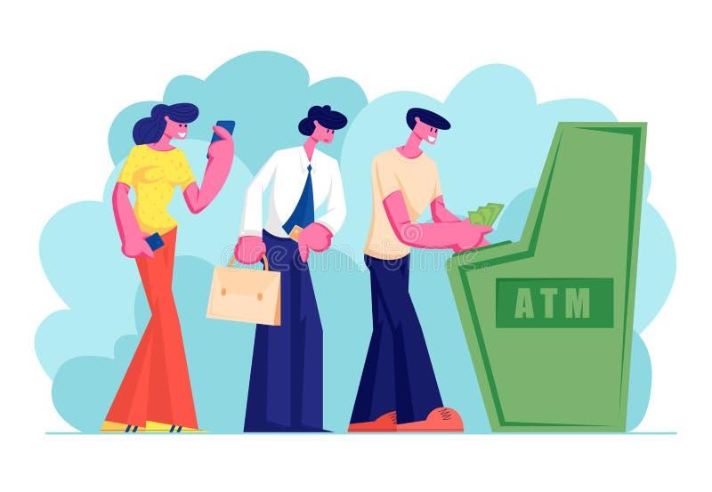 反过来等待的字符支用或投入金钱到站立的自动出纳机在队列 使用Atm的人参观的银行 皇族释放例证