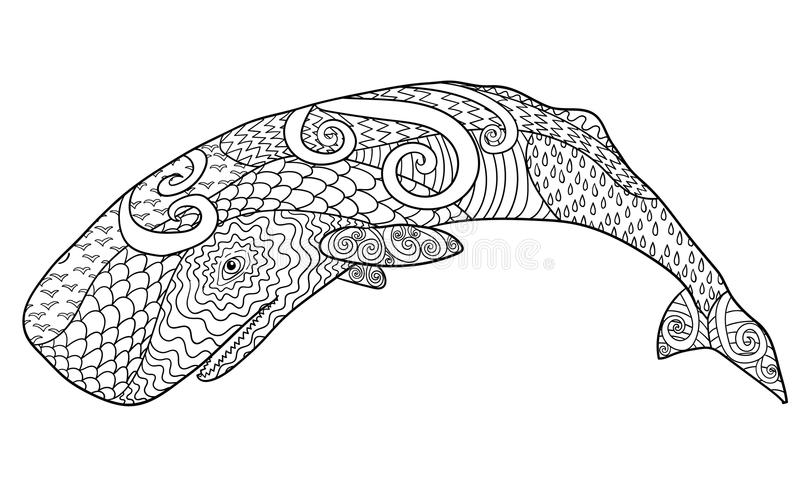 反重音着色页的手拉的鲸鱼 皇族释放例证