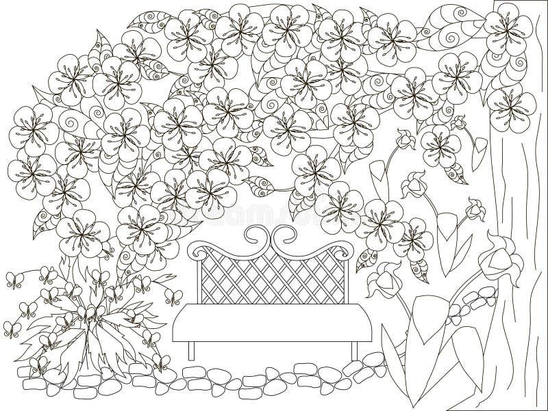 反重音页的开花的春天庭院单色乱画 皇族释放例证