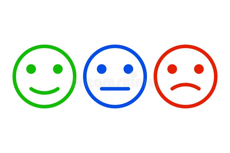 反馈构思设计,情感称背景和横幅 情感规定值反馈观点正面或阴性 向量 向量例证