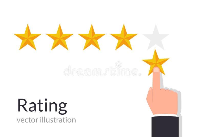 反馈概念 给五个星规定值的商人手 传染媒介例证平的样式 向量例证