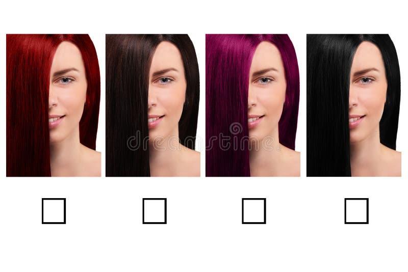 头发与一个微笑的女孩的颜色表 免版税库存照片