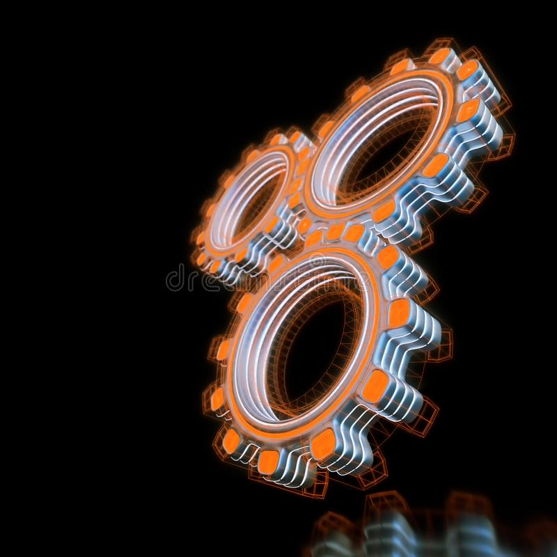 发光三个数字式齿轮 向量例证