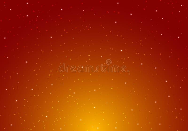 发光与星宇宙空间无限的繁星之夜天空和星光的夜在红色和橙色背景 星系和行星 向量例证