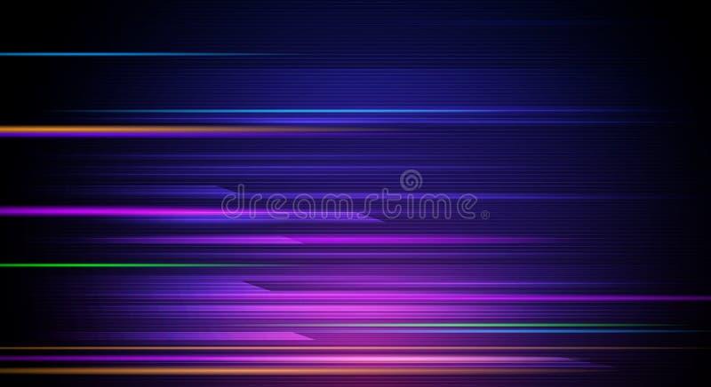 发光例证的摘要,霓虹灯作用,波浪线,波浪样式 传染媒介设计在蓝色背景的通信techno 库存例证