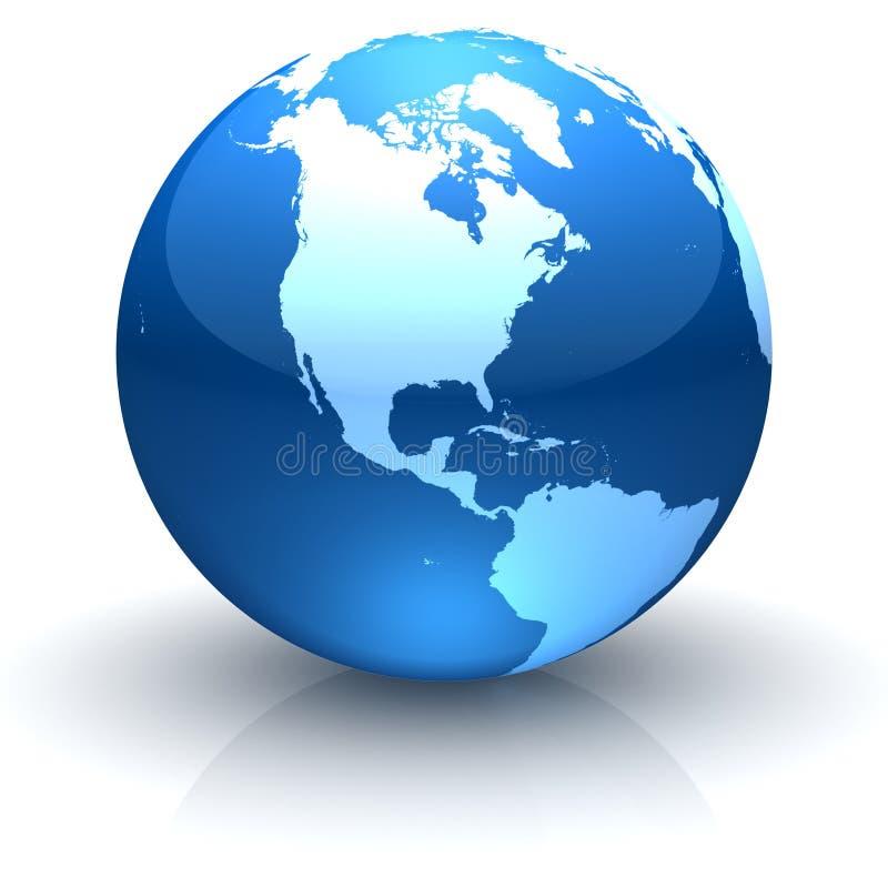 发光北部美国蓝色饰面的地球 库存例证