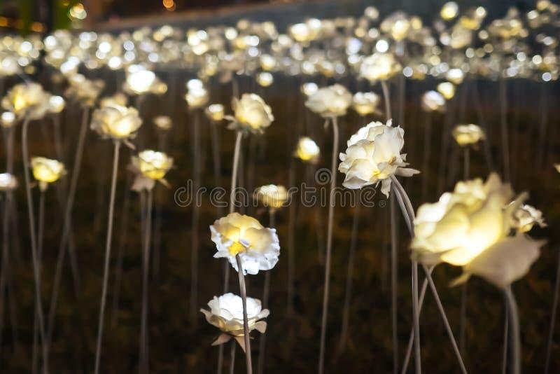 发光在与迷离玫瑰和bokeh背景的黑暗的LED玫瑰 免版税库存照片