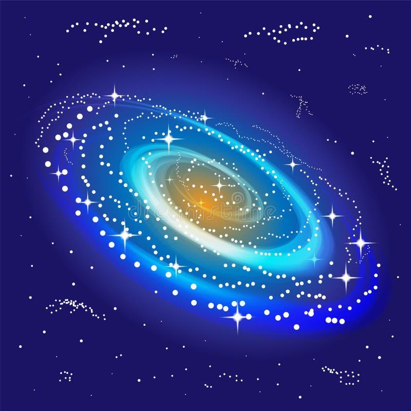 发光在中心的旋涡星云 得出准备好的星形向量的背景下载 适用于纺织品,织品,包装和网络设计 皇族释放例证