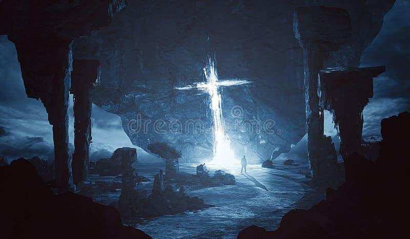 发光在外籍人世界的十字架 向量例证