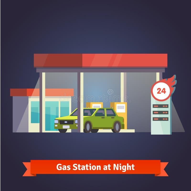 发光在晚上的加油站 商店,价格板 向量例证