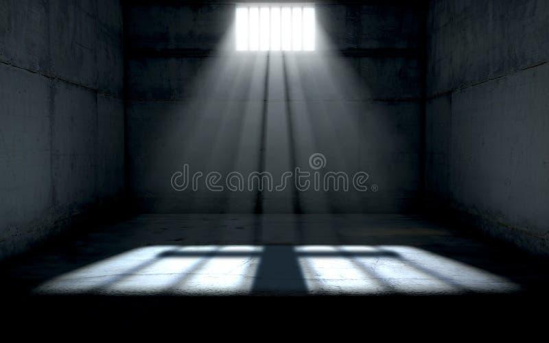 发光在监狱牢房窗口里的阳光 向量例证