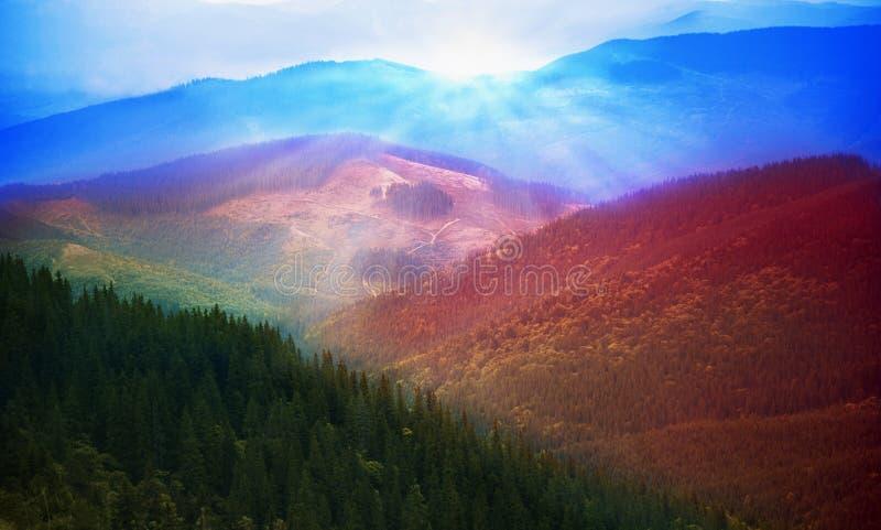 发光在阳光下山的美丽如画的看法 免版税图库摄影
