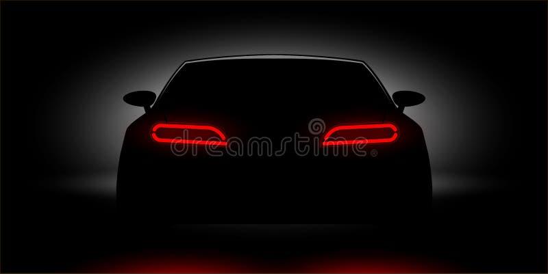 发光在黑暗的汽车车灯 皇族释放例证