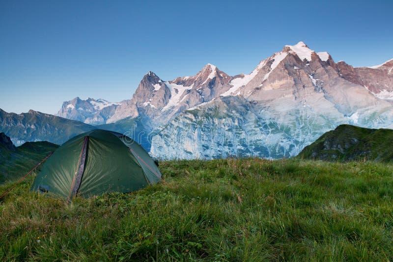 发光由阳光的高山谷 绿色帐篷在牧场地 受欢迎的旅游胜地 与帐篷的剧烈和美丽如画的场面 免版税库存图片