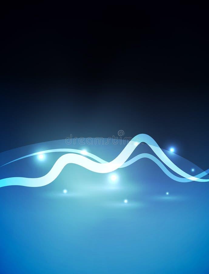 发光的不可思议的波浪在黑暗中标示用光线影响 向量例证