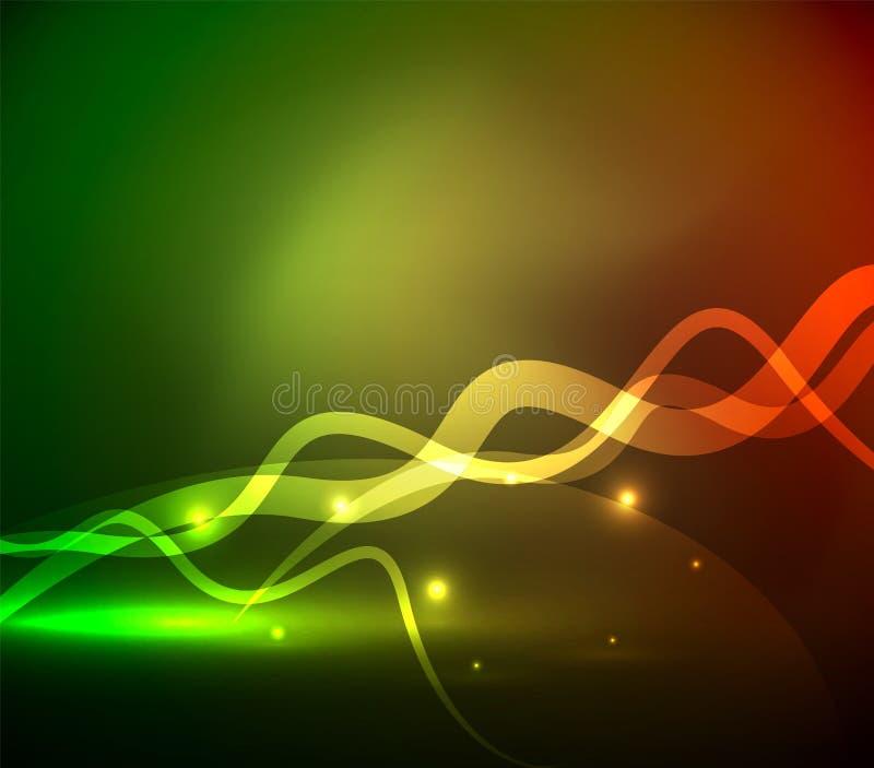 发光的不可思议的波浪在黑暗中标示用光线影响 库存例证