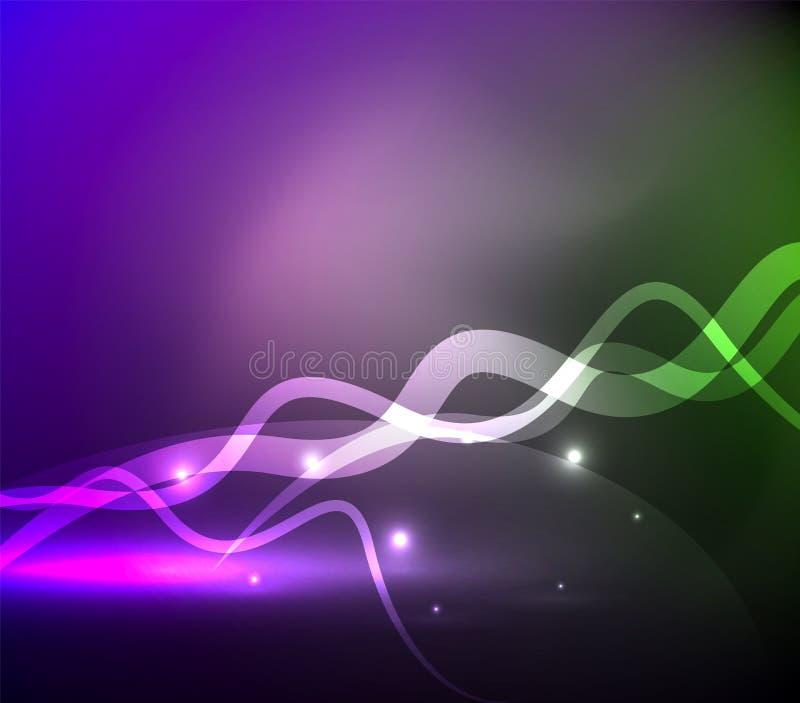 发光的不可思议的波浪在黑暗中标示用光线影响 皇族释放例证