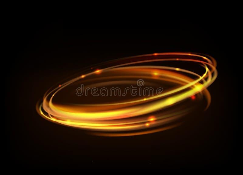 发光的不可思议的火圆环踪影 向量例证