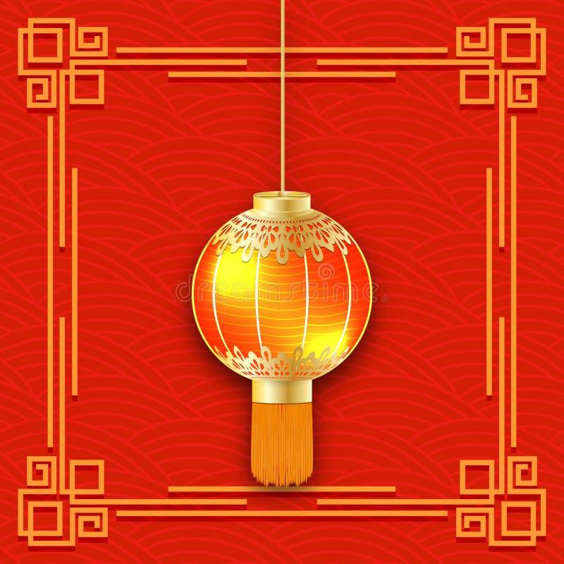 发光的中国灯笼3d详细的手电 春节标志装饰了有tass的金样式红色燃烧的纸灯 库存例证