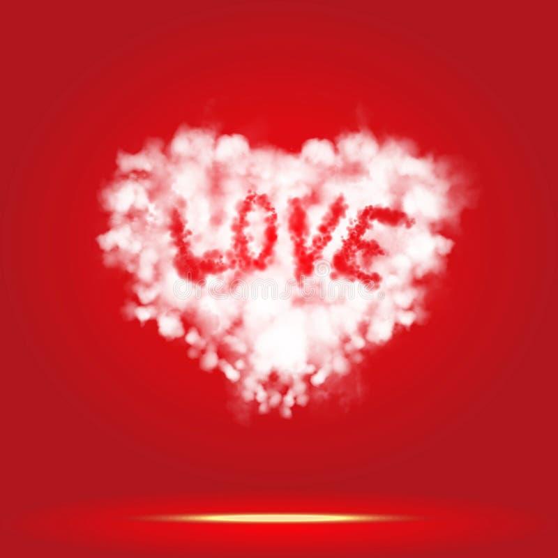 发光的云彩心脏形状和爱词浮动 库存照片