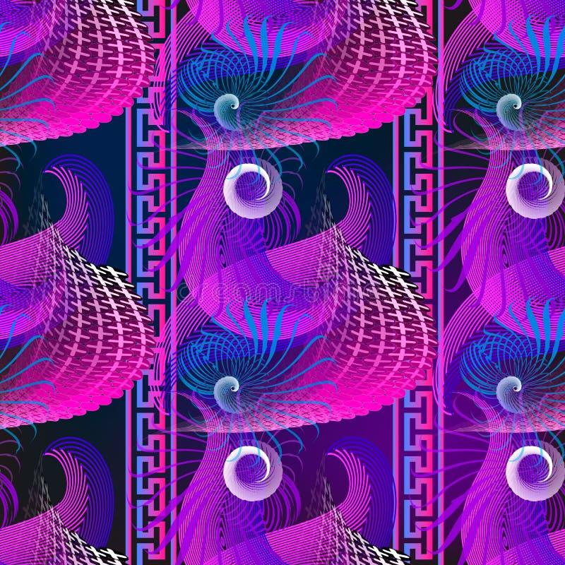 发光的五颜六色的抽象希腊传染媒介无缝的样式 现代装饰背景 被阐明的几何形状,流线 向量例证