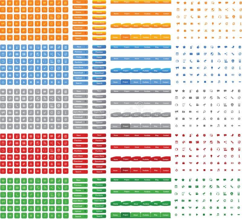 发光的五颜六色的按钮,象,网络设计传染媒介的菜单的汇集  向量例证