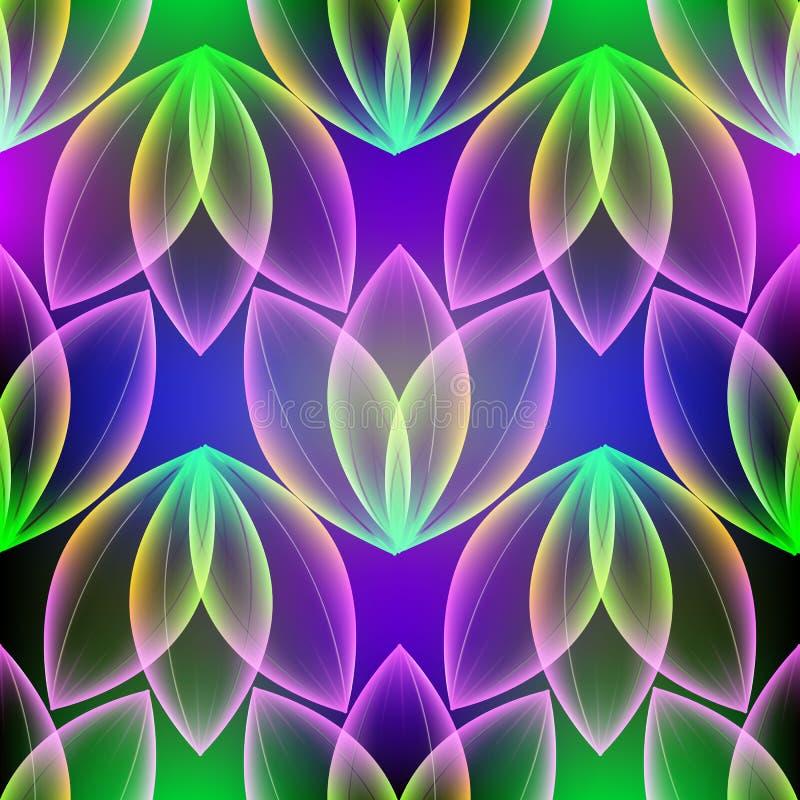 发光的五颜六色的花卉传染媒介3d无缝的样式 库存例证