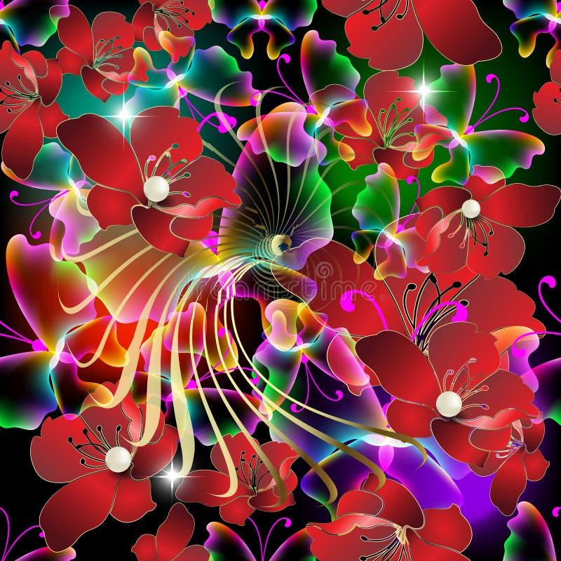 发光的五颜六色的3d红色花导航无缝的样式 抽象装饰焕发背景 重复首饰背景 照亮 皇族释放例证