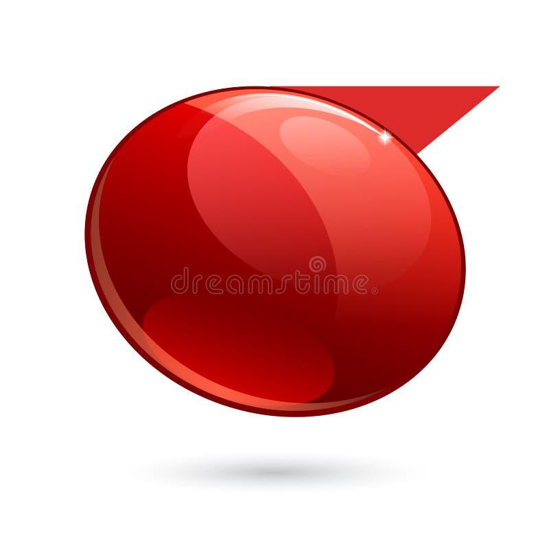 发光的光泽红色3d横幅 库存例证