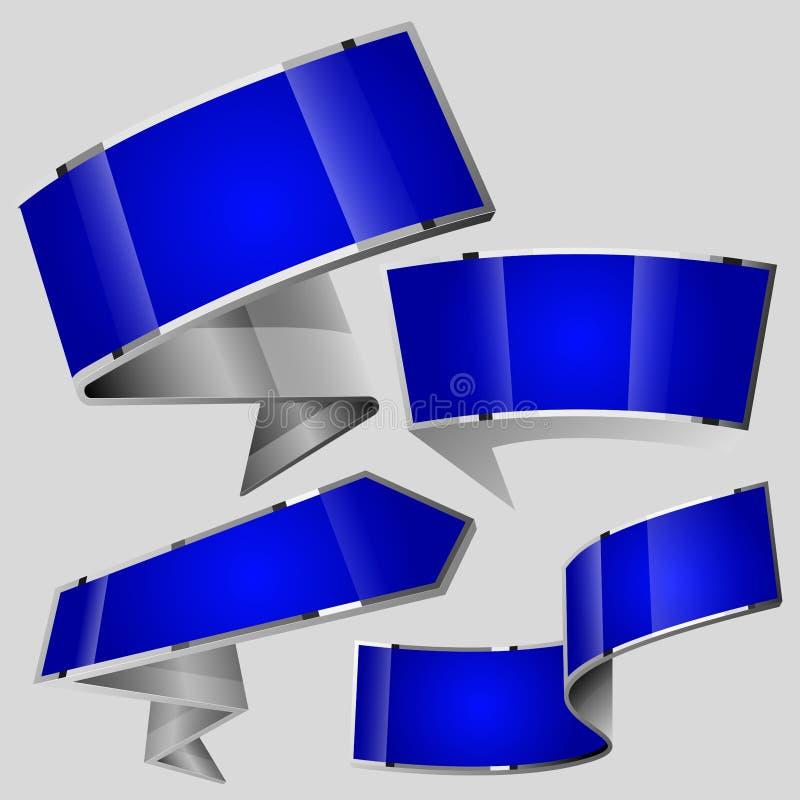 发光的光泽蓝色构思设计 皇族释放例证